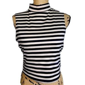 Bar III Striped Mock Neck Crop Top
